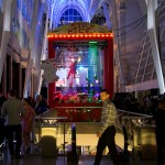 Inside the Allen Lambert Galleria with the giant Stockpile arcade game