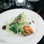 Appetizer: Shrimp & Valrhona Manjari with pure Madagascar chocolate mole sauce, frisee salad