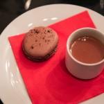 Chocolate macaron, bourbon and truffle honey hot milk chocolate