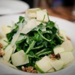 "The ""Verde"" salad with arugula, ontario granny smith apples, toasted walnuts, parmesan, champagne-pear vinaigrette"