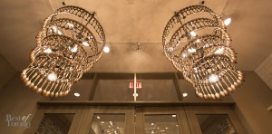 Gorgeous spoon chandeliers at Teatro Verde