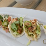Cherry Snapper Soft Tacos with lime, jalapeno, pasilla, cilantro