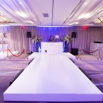 The DJ booth and runway setup