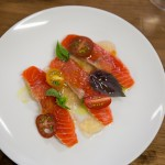 Raw Sockeye Salmon & Tomato Vinaigrette (paired with Rosehall Run 2012 Cuvee County Pinot Gris)