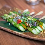 Asparagus skewers with sesame teriyaki