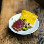 """Jerk Seared Ahi Tuna"", Charred corn-compressed watermelon salad, crispy plantain"