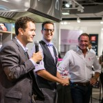 Chefs Corbin Tomaszeski and Mark McEwan engaging in some playful trash talking
