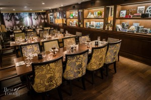 Upstairs dining room. It can be split into a large and small dining room for private events.