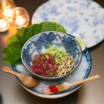 """Tuna Tartar"" with wasabi leaf, avocado, puffed rice, wasabi"