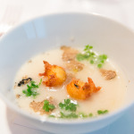 White Corn Soup with salt cod fritters, chervil paired with 2012 Edna Valley Chardonnay, Central Coast (3oz)