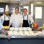 Jamie and the Oliver & Bonacini chefs making herbal mini crepes