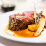 Pistachio mint crusted Ontario lamb rack with Chermoula rub, red and black quinoa, baby turnips & saffron jus