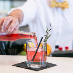 "The ""Rosemary Bramble"" with Dillons gin, rosemary, ginger, blackberries, lemon, sugar, cassis, soda"