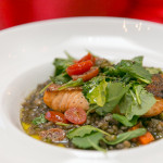 """Provencal Salmon"" with Le Puy lentils, baby kale, tomatoes, olives and lemon"