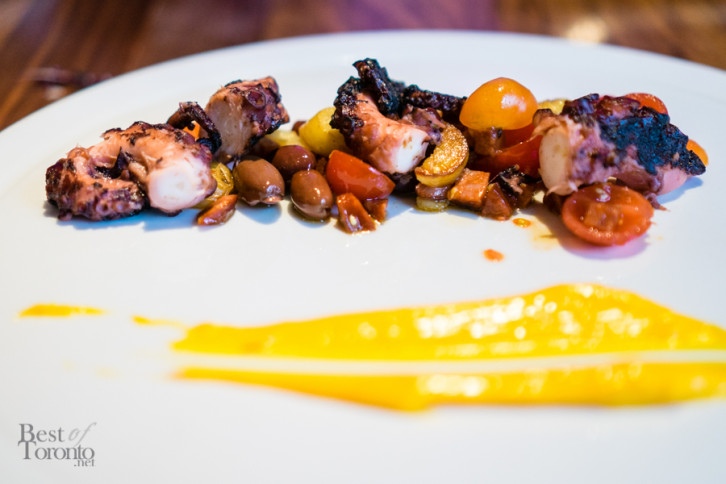 Polipo grigliato | Grilled octopus with fingerling potato, chorizo sausage, black olive, cherry tomato and saffron aioli