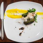 Seal loins, vanilla parsnip puree, blueberry gastrique, meringue