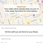 Step 2: Head on over. Using GPS to track your location, the order will be started when you are 15 minutes away..