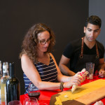 Chef Shahir Massoud teaching guest, Mara Shapiro, how to make fresh pasta