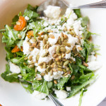 Arugula salad with goat cheese, dried apricot, white wine vinagrette, pumpkin seed