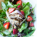 Raddichio with fresh fruit (strawberries here), toasted almond, white wine vinaigrette