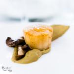 Seared scallop, mushroom, and pistachio paste