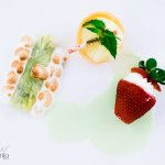 Pineapple roulade, strawberries with crème anglaise, and mandarin sorbet