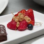 Callebaut chocolate terrine, local berries, whipped cream