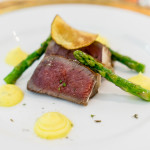 Aged & Smoked | 65-day dry aged rib eye basted in smoked butter, lemony béarnaise, potato crisp, summer asparagus