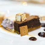 Burnt Marshmallow | spiced dark chocolate ganache, S'more brownie, homemade graham cracker, torched vanilla marshmallow, Ontario blueberry ice cream, sponge toffee dust
