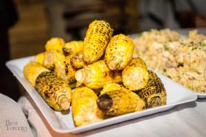 Corn on the cob and potato salad