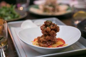 """A&W"" Fried Chicken Bites | Roquefort crème fraiche, pickled mango, De Arbol chili vinaigrette"