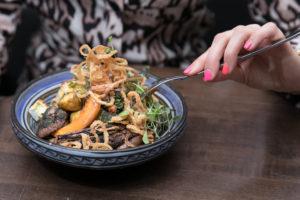 Vegan Curry | Quinoa, chickpeas, seasonal vegetables, Thai bird chili, and coconut curry
